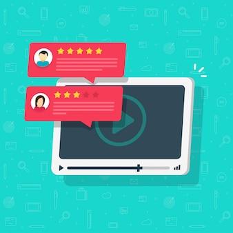 Video-inhoud review getuigenissen online speler of feedback en reputatie beoordeling flat cartoon illustratie geïsoleerde afbeelding