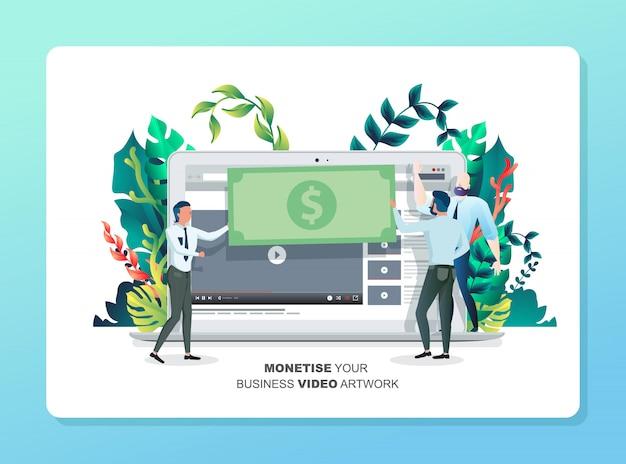 Video inkomsten genereren met illustraties. bestemmingspagina web