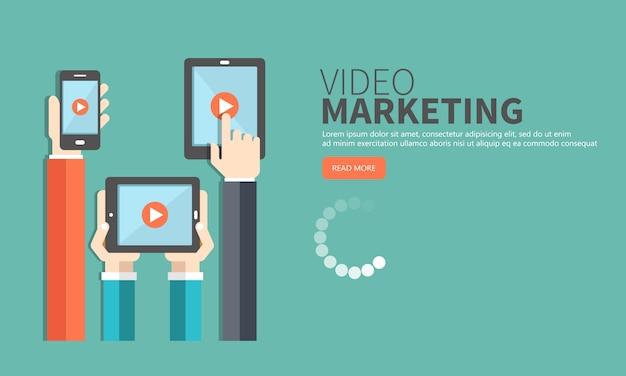 Video marketing concept. media marketing en reclame