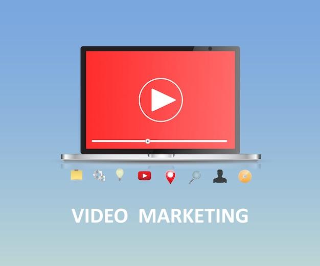 Video marketing laptop vector.