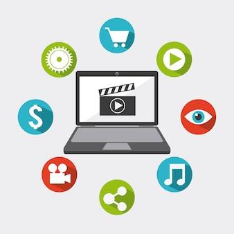 Video marketing ontwerp, vector grafische illustratie eps10