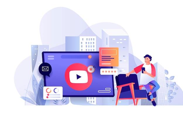 Video marketing scène illustratie van personen karakters in platte ontwerpconcept