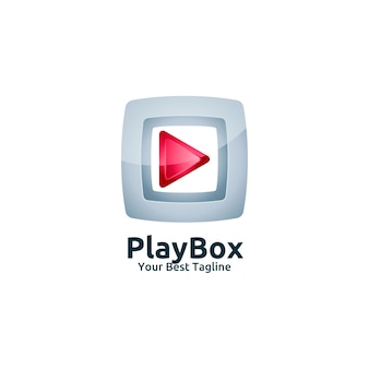 Video media play box logo template