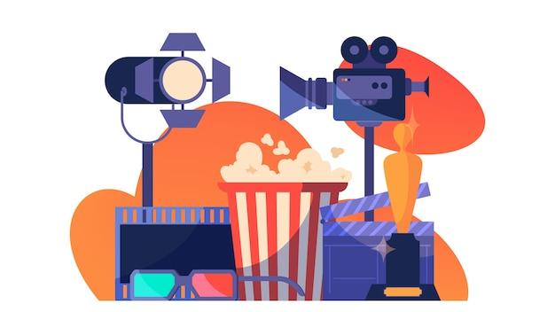 Video- of filmproductie. idee van filmopnames, bioscoopindustrie. klepel en camera, apparatuur voor het maken van films.
