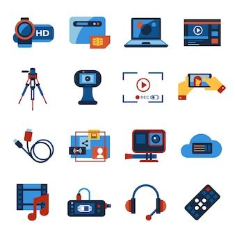 Video-on-demand online streaming technologie iconen collectie