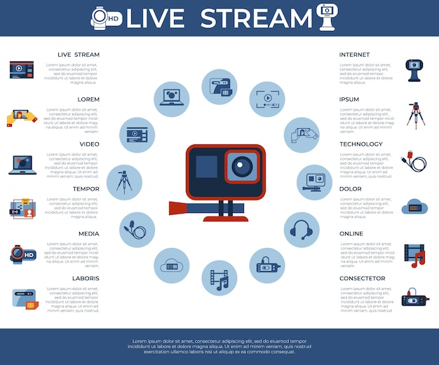 Video-on-demand online streaming technologie iconen collectie