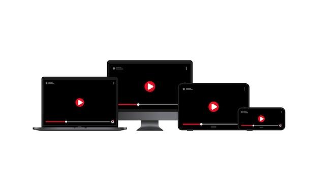 Video online bekijken. computermonitor, laptop, tablet en smartphonescherm met pauzeknop.