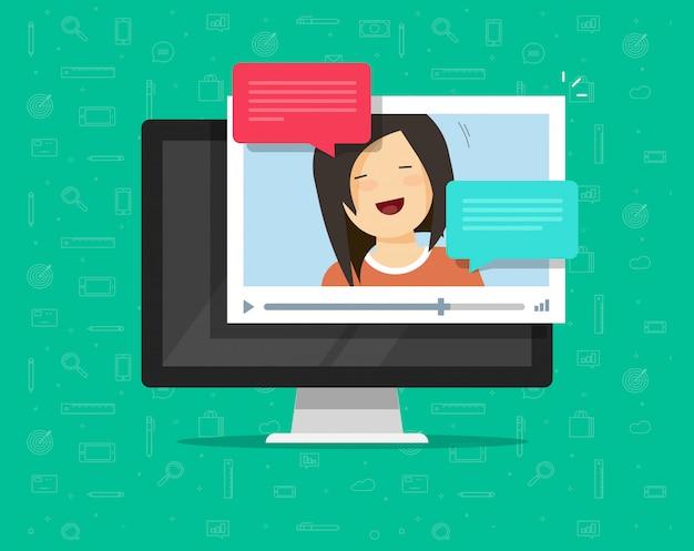 Video online chatten of bellen op computer vector illustratie platte cartoon