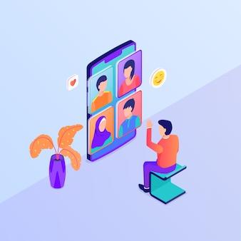 Video-oproep groep discussie concept met man video-oproepen met behulp van grote smartphone met isometrische stijl