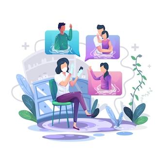 Video-oproep illustratie