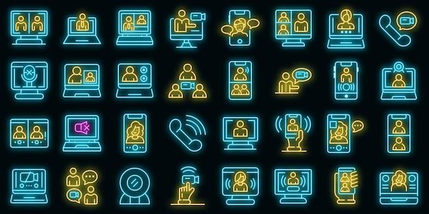 Video-oproep pictogrammen instellen. overzicht set van video-oproep vector iconen neon kleur op zwart