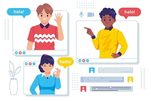 Video-oproep vergadering concept platte ontwerp illustratie