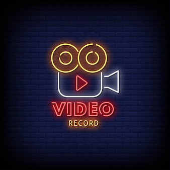 Video record neon signs style text