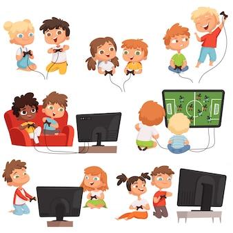 Video spelen. people's kids jongens en meisjes troosten videogames met controllers joystick gamepad grappige kinderen