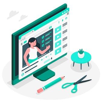 Video tutorial concept illustratie