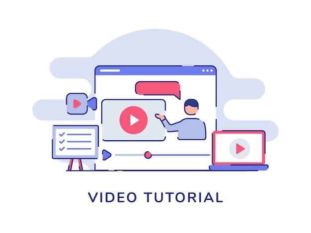 Video tutorial concept video man presentatie op beeldschermcomputer