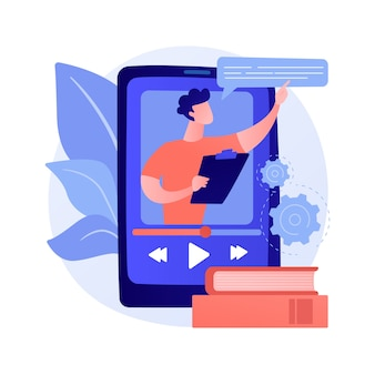 Video tutorial kijken. online lezing, internetcursus, digitale les. tutor stripfiguur. videogesprek, seminar, onderwijs op afstand
