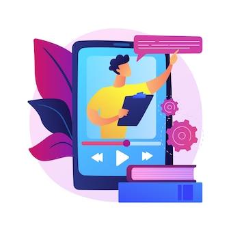 Video tutorial kijken. online lezing, internetcursus, digitale les. tutor stripfiguur. videogesprek, seminar, onderwijs op afstand.