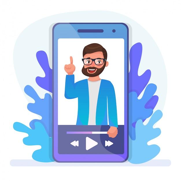 Video-tutorial kijken voor onderwijs op afstand. online lezing, internetcursus, digitale les. bebaarde hipster stripfiguur