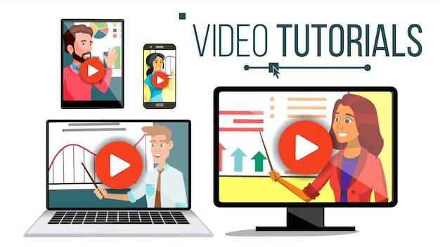 Video tutorial set illustratie