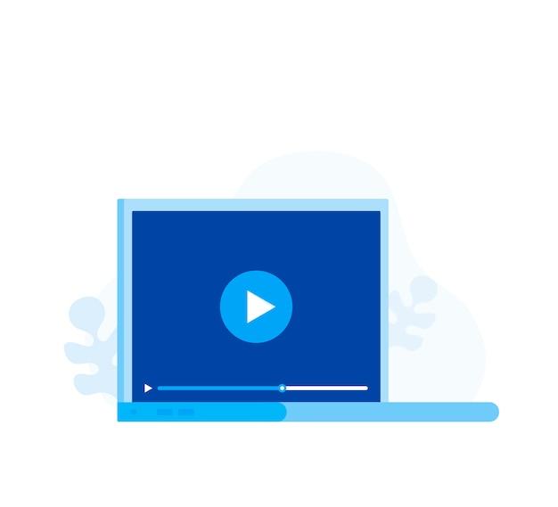 Video tutorials pictogram concept. online webinar en videoconferentieontwerp. studie en leer achtergrond. moderne illustratie in vlakke stijl