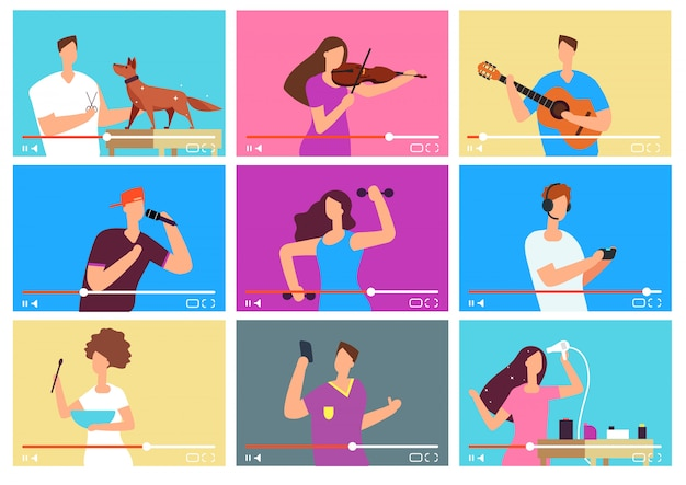 Video uitleg. mensen bloggers op videoscherm.