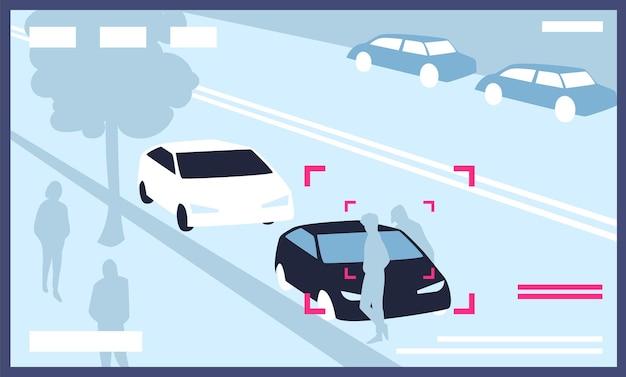Video van cctv-camera's geïnstalleerd op straat in de stad met geparkeerde auto's