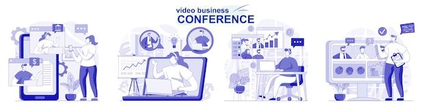Video zakelijke conferentie geïsoleerde set in plat ontwerp mensen bespreken taken online met collega's
