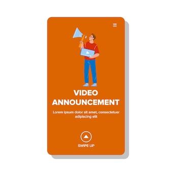 Videoaankondiging die manager boy vector voorstelt. blogger of marketeer adverteren met luidsprekervideo-aankondiging in sociale media. karakter professioneel beroep web platte cartoon afbeelding