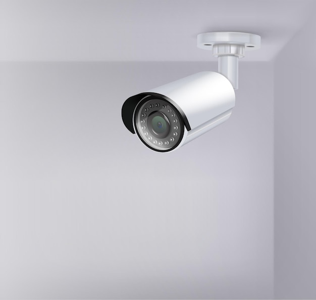 Videobewaking beveiligingscamera realistische afbeelding