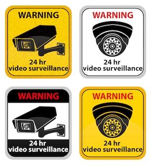 Videobewaking waarschuwingsbord vectorillustratie