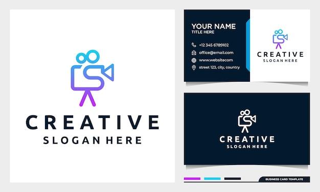 Videocamera-logo voor filmbioscoopproductie met ontwerpsjabloon voor visitekaartjes