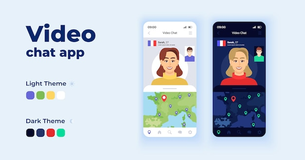 Videochat app cartoon smartphone interface vector sjablonen set. mobiele app schermpagina dag en donkere modus ontwerp. verken de wereld virtueel ui voor toepassing. telefoondisplay met plat karakter