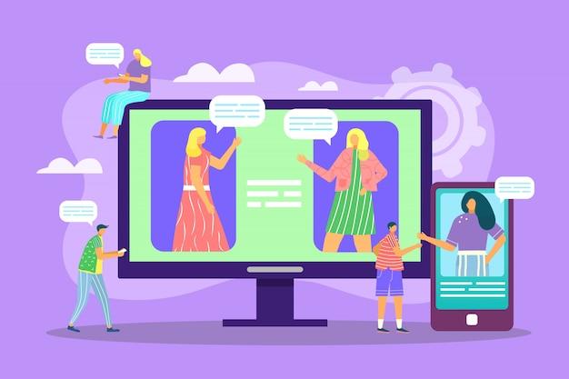 Videochatconcept, videocommunicatie via internet met vrienden tijdens coronavirusillustratie. covid19. blijf thuis, blijf veilig. in contact te blijven. online chatverbinding, relatie.
