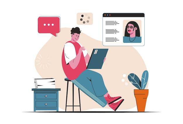 Videochatten concept geïsoleerd. vrienden praten via videogesprekken in de messenger. mensenscène in plat cartoonontwerp. vectorillustratie voor bloggen, website, mobiele app, promotiemateriaal.