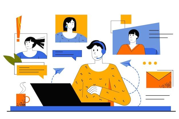 Videochatten webconcept. werknemer voert videoconferentie met collega's. man die online zijn vrienden belt die achter een laptop zit.