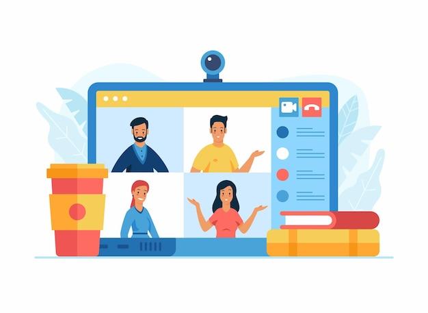 Videoconferentie-app op een laptopscherm. een groep van vier positieve stripfiguren in een online conferentie