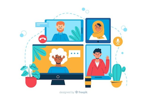 Videoconferentie-bestemmingspaginaillustratie
