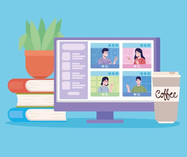 Videoconferentie bureaublad en pictogrammen