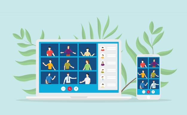 Videoconferentie mobiel met laptop en smartphone voor online digitaal nieuw normaal leven met moderne vlakke illustratie