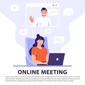 Videoconferentie of online vergaderconcept.