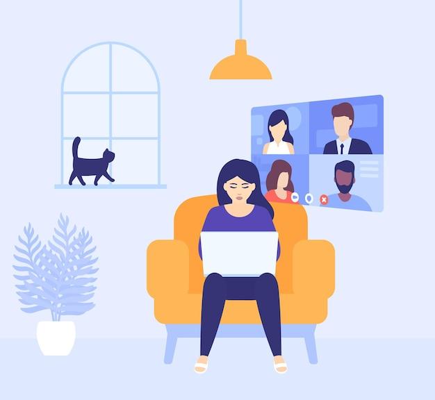 Videoconferentie, online vergadering, meisje dat thuis werkt, vector