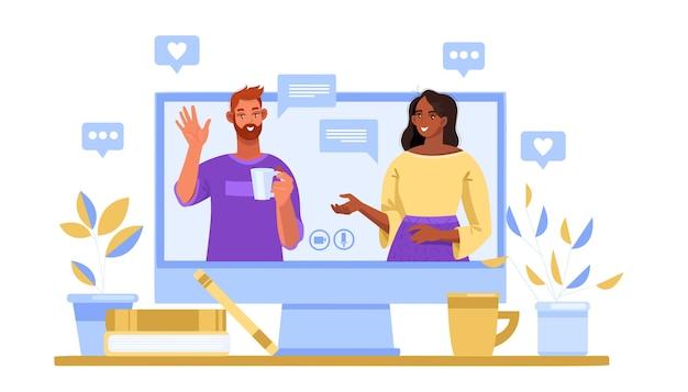 Videoconferentie, online webinar illustratie met computerscherm, pratende man en vrouw, boek