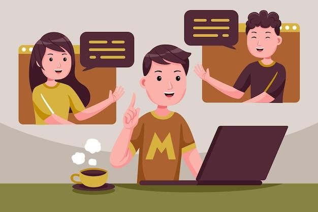 Videoconferentie op afstand werken op laptopcomputer