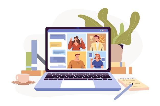 Videoconferentie op afstand werkende flatscreen-laptop met illustratiescherm met een groep collega's mensen verb...
