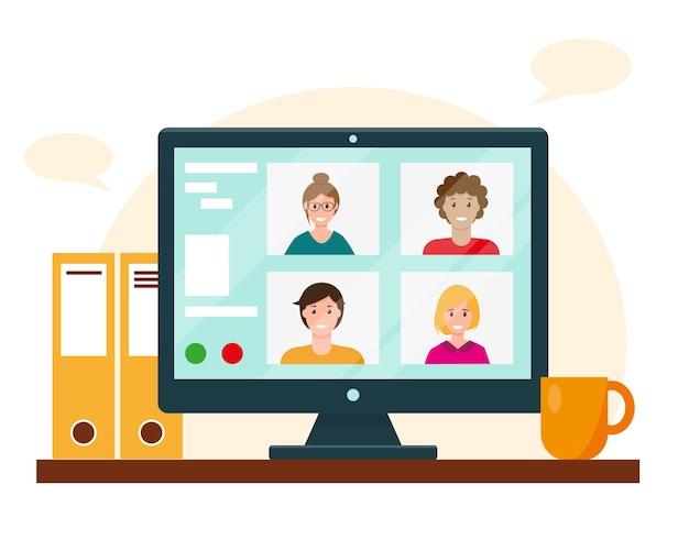 Videoconferentie op het computerscherm