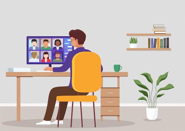 Videoconferentie vanuit huis. concept online ontmoeting met collega's, werk en training via teleconferentie of videoconferentie.