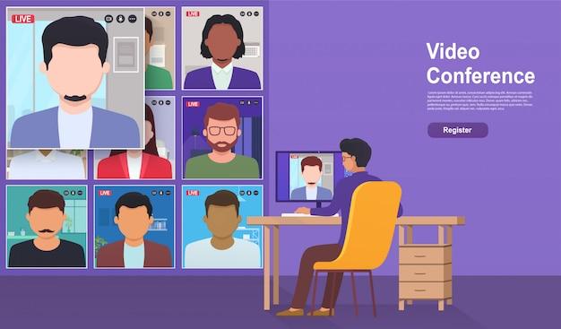 Videoconferentie vanuit huis. online ontmoeting met collega's, werk en training via teleconferentie of videoconferencing.