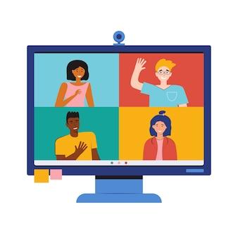 Videoconferentie vanuit huis. online werken op afstand. teleconferentie. monitor met mensen. blijf thuis