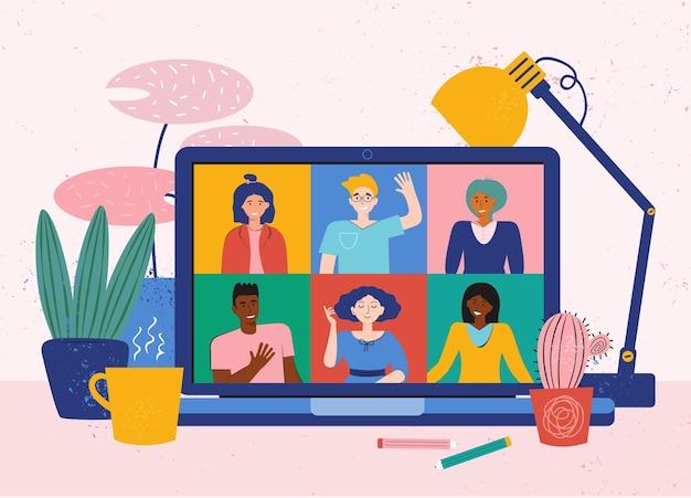 Videoconferentie vanuit huis voor online vergadering. teleconferentie met vrienden. gezellige desktop met laptop